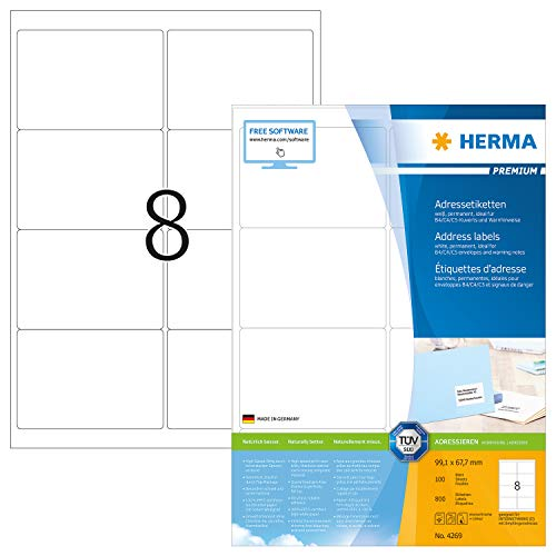 HERMA 4269 Adressaufkleber DIN A4 (99,1 x 67,7 mm, 100 Blatt, Papier, matt) selbstklebend, bedruckbar, permanent haftende Universal Etiketten, 800 Klebeetiketten, weiß