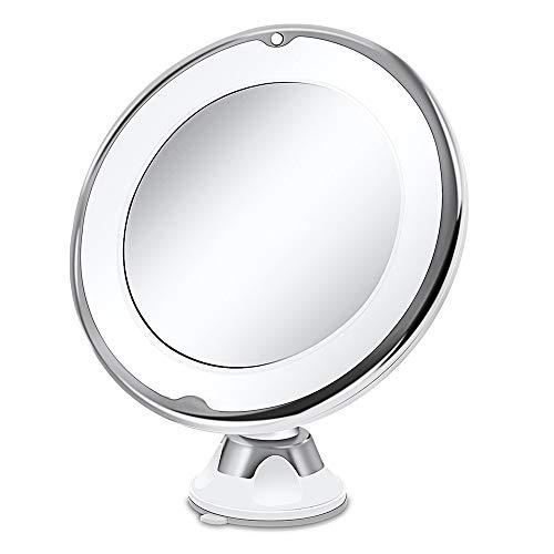 Kosmetikspiegel LED Beleuchtet mit 10x Vergrößerung, Saugnapf 360-Grad-Drehung Makeup Spiegel Schminkspiegel mit Blendfreier Beleuchtung für Zuhause und Unterwegs