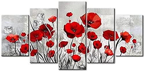 DFBSF Fem hemdekorationer i trä canvasmålningar/röda körsbärsblommor-30 x 40 cm 30 x 60 cm 30 x 80 cm/heminredningsmålningar, abstrakta målningar som används i sovrum, vardagsrum, babyrum, etc.