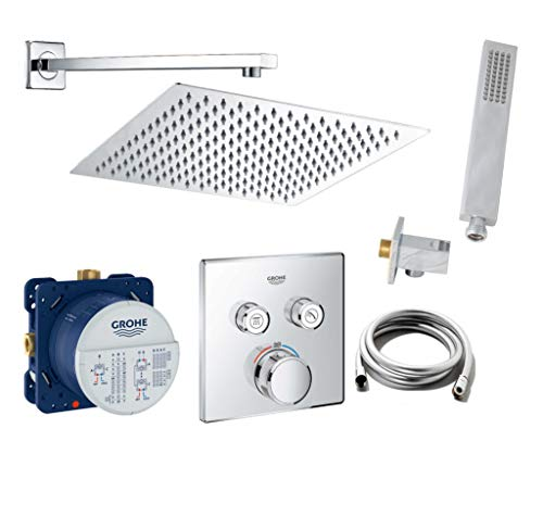 vanvilla Duschset mit Unterputz Armatur Grohe SmartControl Thermostat und vanvilla Regenduschkopf eckig, Dusch-SET G02 poliert