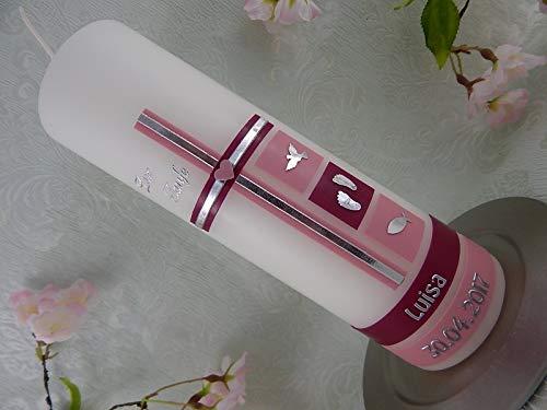 Taufkerze Kreuz rosa modern Taufsymbole Taufkerzen für Mädchen 250/70 mm personalisierbar