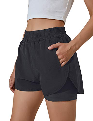 BMJL Women's Running Shorts Elastic Waistband High Waisted Shorts Pocket Sporty Workout Shorts Gym Athletic Shorts Pants (Small, Black, s)