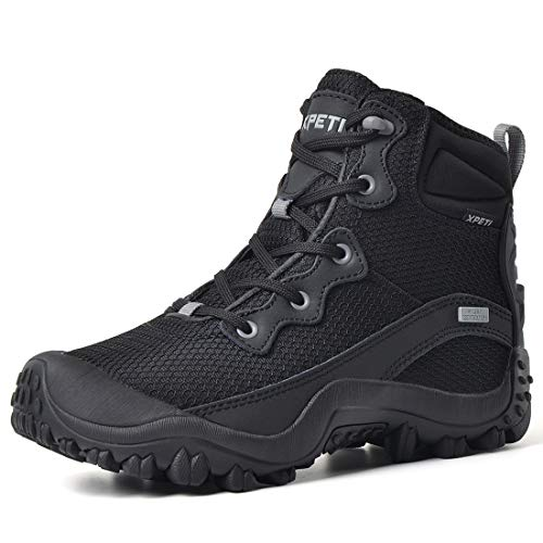 XPETI Women's Dimo Mid Waterproof Lightweight Hiking Anti-Slip Outdoor Boot Trail Trekking Shoes Black 7