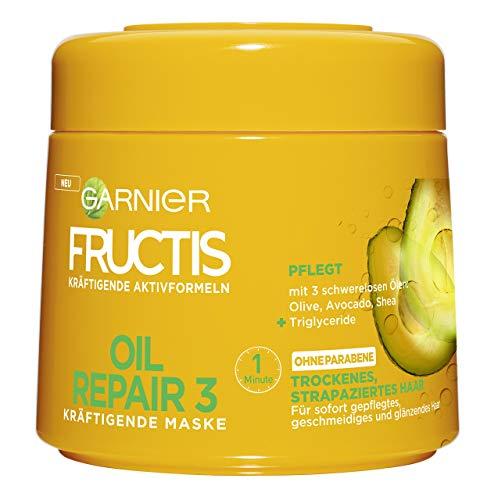 Garnier Fructis Oil Repair 3 Kräftigende Maske, für trockenes, strapaziertes Haar, mit 3 schwerelosen Ölen aus Olive, Avocado und Shea, 6er-Pack (6 x 300 ml)
