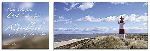 Artland Glasbilder Wandbild Glas Bild 2 teilig 30x30 / 60x30 cm Querformat Natur Strand Meer Küste Leuchtturm Sylt Spruch Zitat S6PB