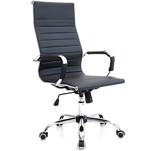 High Back Executive Office Chair Draai computer bureaustoel kantelbare zitting in hoogte verstelbaar ergonomisch bonded leer van houten basis (zwart)