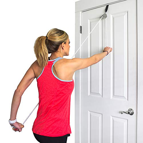 DMI Over the Door Shoulder Pulley for Physical Therapy helps Increase Mobility and Maneuverability on Injured, Elderly or Disabled with Easy to Grip Wooden Dowel Handles, White