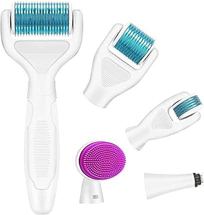 Rodillo Agujas, Nivlan 6 en 1 Derma Roller Rodillo de Micro Agujas Dermaroller para Cuidado de la Piel, Anti-Edad, Antiarrugas, Eliminación de Cicatrices Acne, Poro Contractivo, 0.25mm, Azul