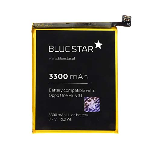 Blue Star Premium - Batería de Li-Ion 3300mAh de Capacidad Carga Rapida 2.0 Compatible con el OnePlus 3T / One+ 3T