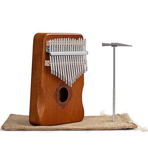 17 Keys Kalimba Thumb Piano, Mahogany Wood Small Size Pocket Finger Piano, Portable Travel Mbira, Beginners Likembe, African Sanza, Zimbabwe Carlimba Kits (B)