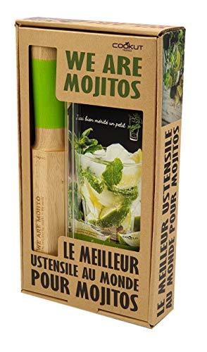COOKUT - Coffret We are Mojito - Le ustensile à mojitos au Monde - Réalisez de délicieux mojitos Maison - Outil 4 en 1 - Pack avec 2 pailles en Verre et 1 Livre de Recettes
