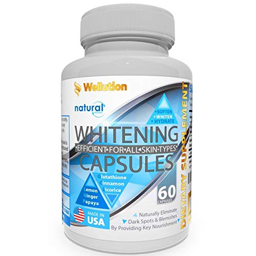 Whitening Pills for Skin - 60 caps - Herbal Supplement -3 Times Better Than glutathione - Focus on Clear Glossy Brightening and Smoothy Skin Support - Dark Spot Remover Acne & Acne Scar Remover