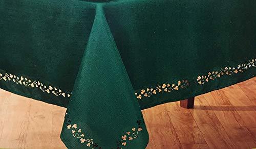 Nantucket St. Patricks Day Swirling Shamrocks Cutwork Tablecloth- (60'x84')