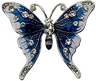 FEELMEM Crystal Rhinestone Butterfly Brooch Pin Blue Color Butterfly Brooches for for Women Girls Wedding/Banquet/Birthday Party