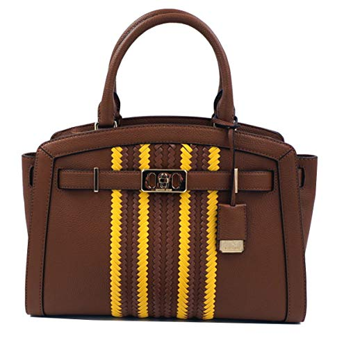 """Pebbled Leather & Woven Leather Accent, Golden Hardware Top Zippered Closure Inside: MK signature fabric lining, 1 zippered pocket & 4 slip pockets Handles with 4.5"""" drop; Comes with Removable & adjustable shoulder strap 13"""" length x 9"""" tall x 5"""" dee..."""