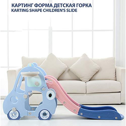 MOKY Smoby Lustige Garten Slide mit Langen Double Dip und Garde Schlauchanschluss-Easy to Assemble-Aus DurableTreated Kunststoff, Blau/Rosa,A