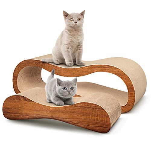ScratchMe 2 in 1 Cat Scratcher Cardboard Lounge Bed, Cat Scratching Post with Catnip, Durable Board Pads Prevents Furniture Damage,Large