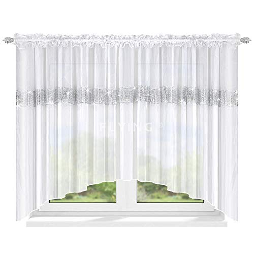 FKL TOP Fertig-Gardine aus Voile NEU Top Design Set Schöne Küche-Gardine mit Kräuselband 150 x 400 cm LB-239