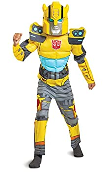 Bumblebee Costume Muscle Transformer Costumes for Boys Padded Character Jumpsuit Kids Size Small  4-6  Yellow