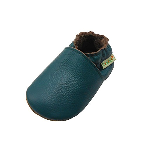 SAYOYO Baby Soft Sole Prewalkers Skid-Resistant Baby Toddler Shoes Cowhide Shoes (6-12 Months, Darkcyan)