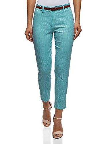 oodji Collection Mujer Pantalones de Jacquard con Cinturón, Turquesa, ES 42 / L