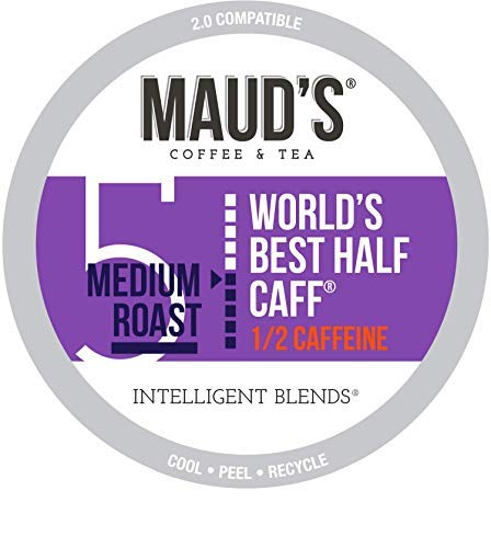 Maud's Half Caff Coffee (World's Best Half Caff), 200ct. Recyclable Single Serve Half Caff Coffee Pods – 100% Arabica Coffee California Roasted, Keurig Half Caff K Cup Compatible Including 2.0