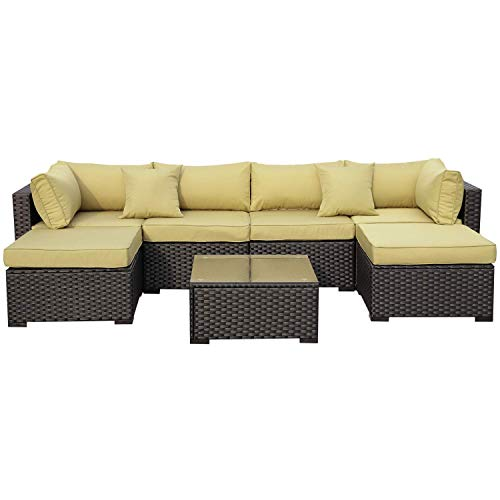 VALITA 7 Pieces Patio PE Wicker Furniture Set Outdoor Black Rattan Sectional Conversation Sofa Chair with Olive Green Cushions