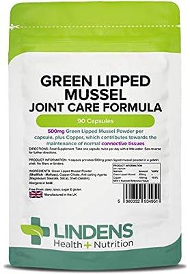 Lindens Grünlippmuschel 500 mg Kapseln | 90 Verpackung | Formel für die Gelenke, in einer praktischen Kapsel, die den Wirkstoff schnell freisetzt. Eine populäre Alternative zu Glucosamin