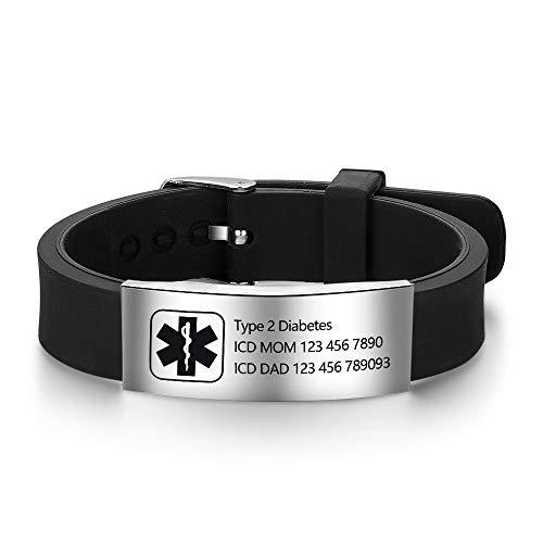 Personalized Silicone Adjustable Medical Alert Bracelets Waterproof Sport Emergency ID Bracelets for Men Women (Black) (Black Design 1)