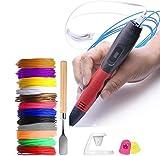 Pluma de Impresión 3D, SHALLWE 3D Pluma con 12 Colores Filamento, Pantalla LCD, Control de Temperatura y 3 Velocidades, Compatible con Filamento PLA & ABS, 3D Pen Regalos para Niños (Negro-rojo)