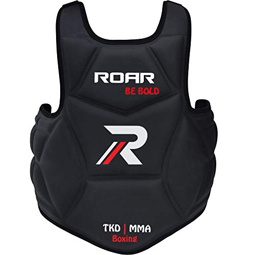Roar Boxing Chest Guard Gel Padding MMA Body Protector Rib Shield Muay Thai Kickboxing Armour (Professional Black)