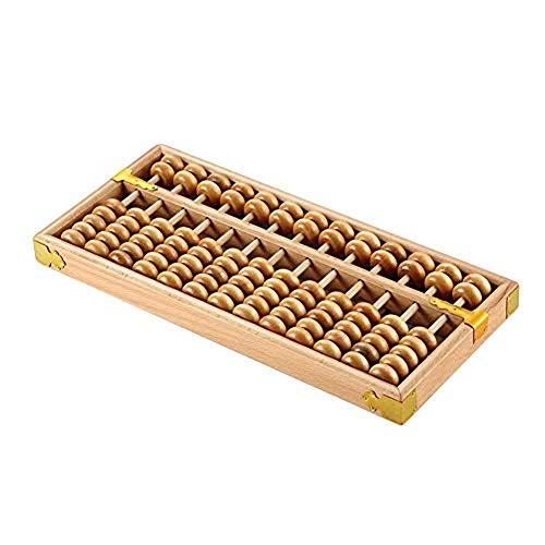 Vintage Houten Telraam Met 13 Kolommen Standard Abacus Calculator Houten Tool Rekent Op Mathematics Education in Math Toy Kinderen-Kranten,Beige