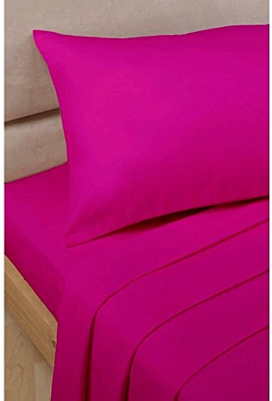 Laxlinens Drap Plat avec 2taies d'oreiller Euro suppléHommestaire Super King Taille, rose vif solide en coton égypcravaten 500fils