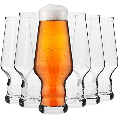 Krosno Bicchieri Birra Artigianale Vetro | Set di 6 | 400 ML | Collezione Splendor | Perfetto per casa, ristoranti e Feste | Adatto alla Lavastoviglie e al Forno a Microonde