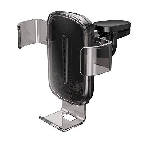 Baseus Cargador de Coche inalámbrico Explore (Cargador rápido de 15W, se Conecta a la ventilación de Aire, rotación de 360 Grados, Leds Integrados para indicar el Estado de Carga), Transparent