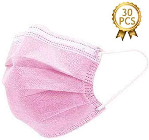 Dragonee 30 Piezas 3 Capas, Color Rosa, Protege La Boca Y La Boca, Evita El Contacto De Polvo Y La Transmisión