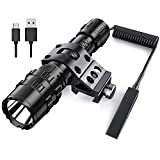 POVAST 5 Modes Tactical Flashlight with Picatinny Rail Mount, 1200 Lumens LED Hunting Torch Light with Wrist Strap, Super Bright, Remote Pressure Switch Tail, Battery Included, Matte Black