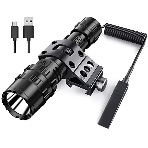 POVAST 5 Modes Tactical Flashlight with Mount, 1000 Lumens USB Rechargeable LED Hunting Torch Light with Wrist Strap, Super Bright, Pressure Switch Tail, Matte Black