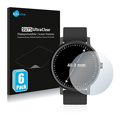 Savvies 6X Schutzfolie kompatibel mit Armbanduhren (Kreisrund, Durchmesser: 40 mm) Displayschutz-Folie Ultra-transparent