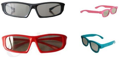 Familial Pack 4 Paires de passif universel lunettes 3D pour toutes les TV et cinéma 2 adultes rouges et noirs et 2 enfants en rose et bleu
