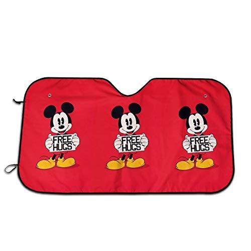 YQLDFB Parasol para Parabrisas de Coche sin Abrazos de Mickey Mouse Sun Heat Shield Shade UV Ray Visor Protector, Mantener el vehículo Fresco