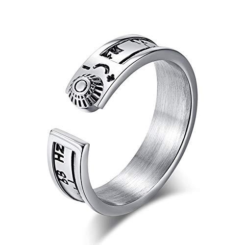 BQZB Ring 52 Hz Walvis Ring voor Vrouwen en Mannen 52 Hz Frequentie Eenzame Walvis Radio Ring Zilver Kleur RVS Mode Sieraden