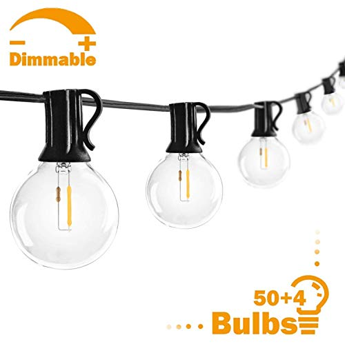 50FT G40 LED Globe Patio String Lights with 50 Hanging Sockets, 54 LED Clear Bulbs, Waterproof Dimmable Edison Bulb String Lights, Outdoor Indoor Cafe Lights Bistro Lights for Garden Gazebo- Black