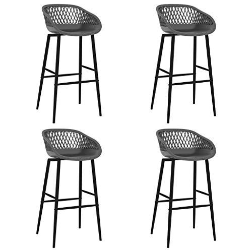 vidaXL 4X Taburetes de Cocina Muebles Interior Sillas Altas Asientos de Bar Barra Bistró Mostrador Hogar Pub Respaldo Comedor Casa Gris