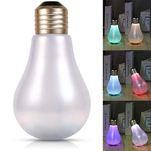 Boquite Difusor de Aroma, humidificador USB Mini purificador de Aire para Oficina en casa Colorido LED Forma de Bombilla de luz Nocturna(Mate)
