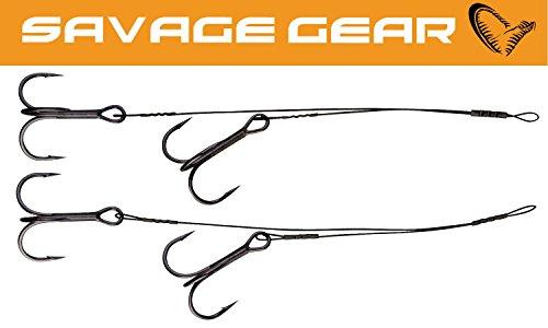 Savage Gear Black Doppel- Stinger Zusatzhaken für Gummifische - 2 Angsthaken, Vorfach mit Drilling zum Hechtangeln, Stahlvorfächer für Hecht, Zander, Barsch, Zusatzdrilling, Drillingshaken am Stahlvorfach, Länge/ Tragkraft / Hakengröße:8+12cm / 15kg / Gr. 1