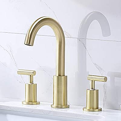 Comllen Modern 2 Handle 3 Hole Matte Gold 8 Inch Lavatory Widespread Bathroom Faucet,Bathroom Sink Faucet Toilet Wash Basin Faucet with Pop Up Drain and Water Supply Lines