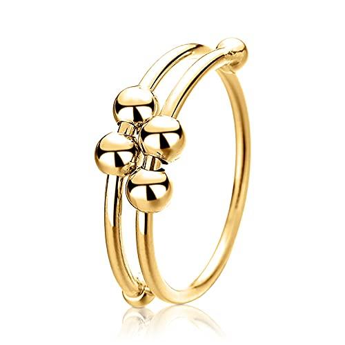 ampluck Anillo de dedo pulido para aliviar la ansiedad con cuentas para mujeres, hombres, niñas y niños giran libremente anillo de Pascua, regalo de joyería unisex (oro)