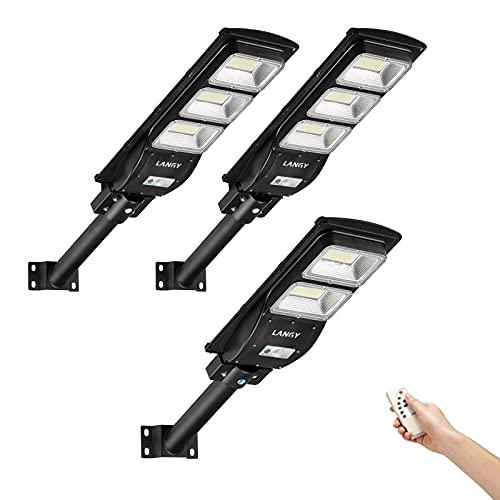 Street Light Solar Powered Combo,2 Pack 90 watts +1 Pack 60 watts Solar Street Lights Outdoor