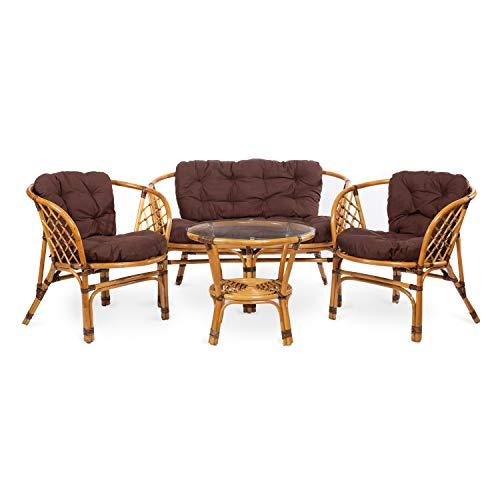 Ragnarök Juego de Muebles de jardín de ratán – Muebles de balcón – Muebles de jardín – Juego de Mesa – Juego de Muebles de balcón (Natur - Braun)